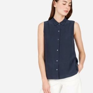 Everlane Silk Sleeveless Square Shirt Navy Size 2
